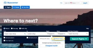 Skyscanner search the cheapest dates for Flying